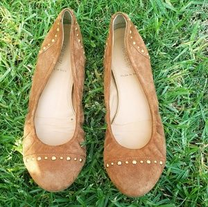 J. Crew Cece Studded Brown Suede Flats